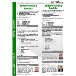 Kombi-Seminar Zollabwicklung Ausfuhr und Einfuhr
