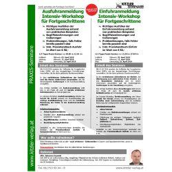 Ausfuhranmeldung Intensiv-Workshop für Fortgeschrittene