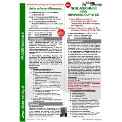 Kombi Seminar: Lieferantenerklärungen & Neue Abkommen & Ursprungssysteme