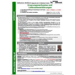 Webinar Ursprungsnachweise und Lieferantenerklärungen