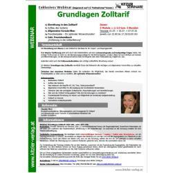 Webinar Grundlagen Zoll-Tarif