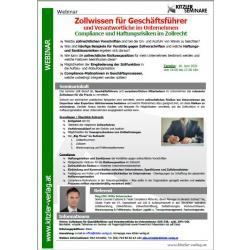 Webinar Zollwissen für Geschäftsführer und Verantwortliche im Unternehmen